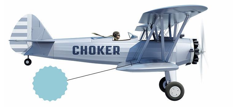 Freelance Grafiker med 20 års erfaring fra Choker Design Studio flyver en grå dobbeltdækker. Ring i dag 3026 0175 står der på banner efter flyveren
