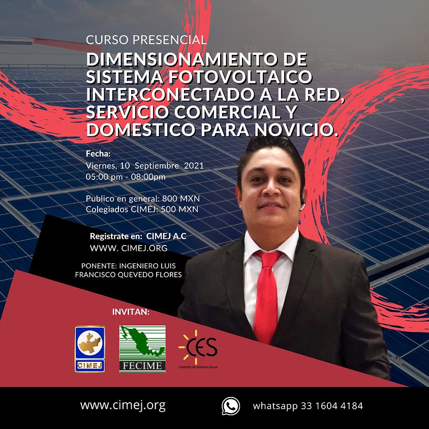 DIMENSIONAMIENTO DE SISTEMA FOTOVOLTAICO INTERCONECTADO A LA RED, SERVICIO COMERCIAL Y DOMESTICO PARA NOVICIO