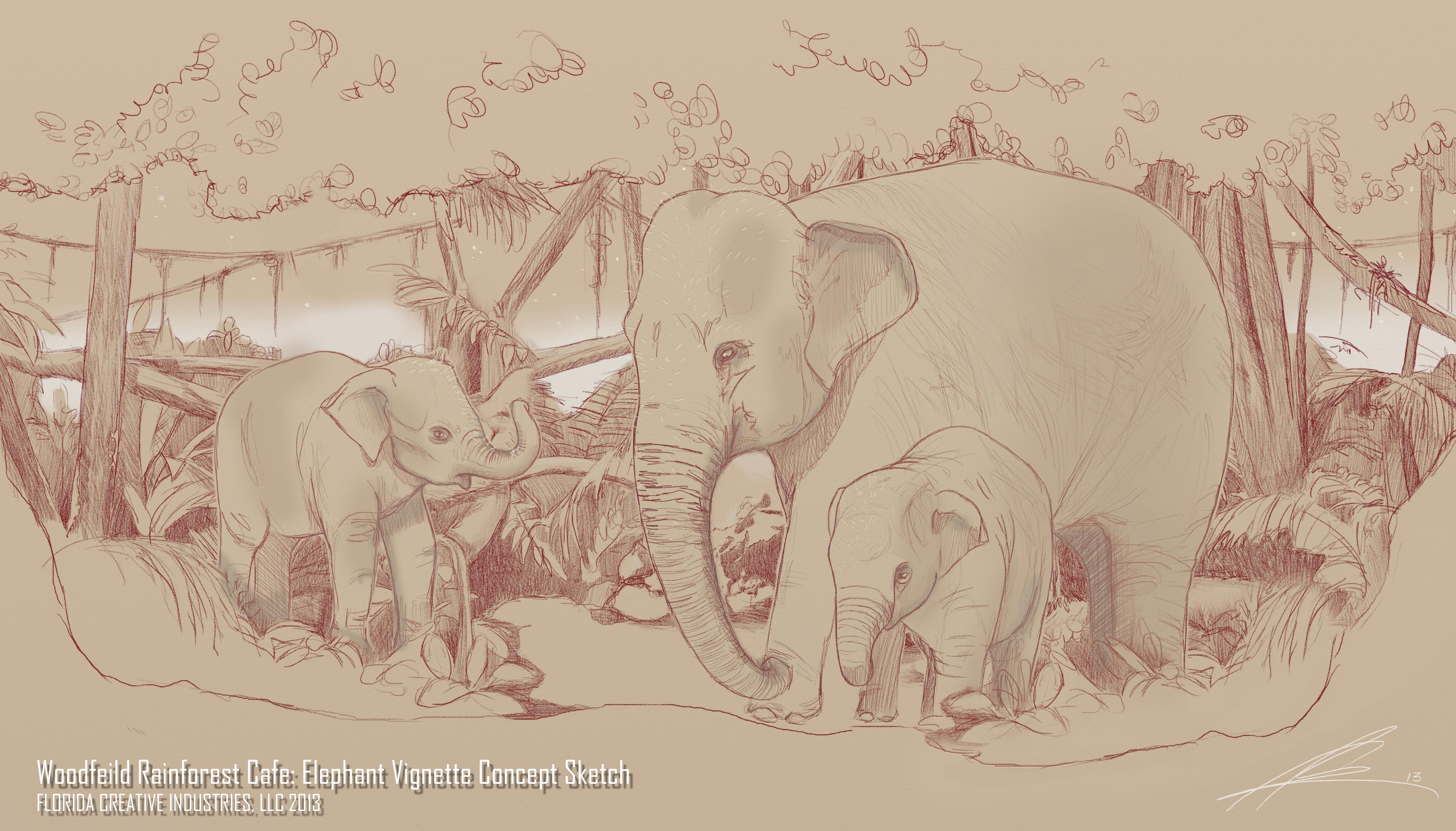 Elephants Woodfeild Final Sketch
