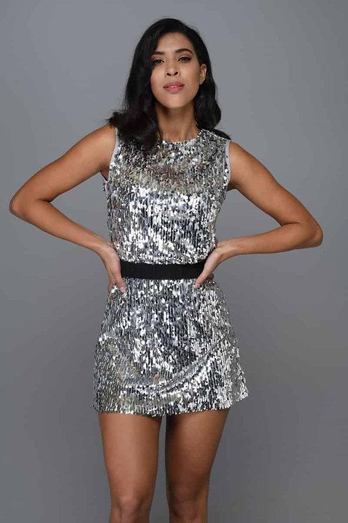 Gümüş Payetli Mini Elbise