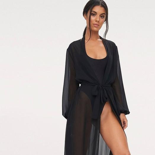siyah maxi kimono
