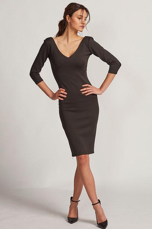 V-Yaka Siyah Midi Elbise