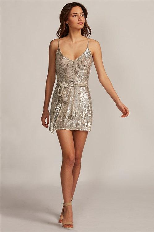 Payetli Gold Mini Elbise