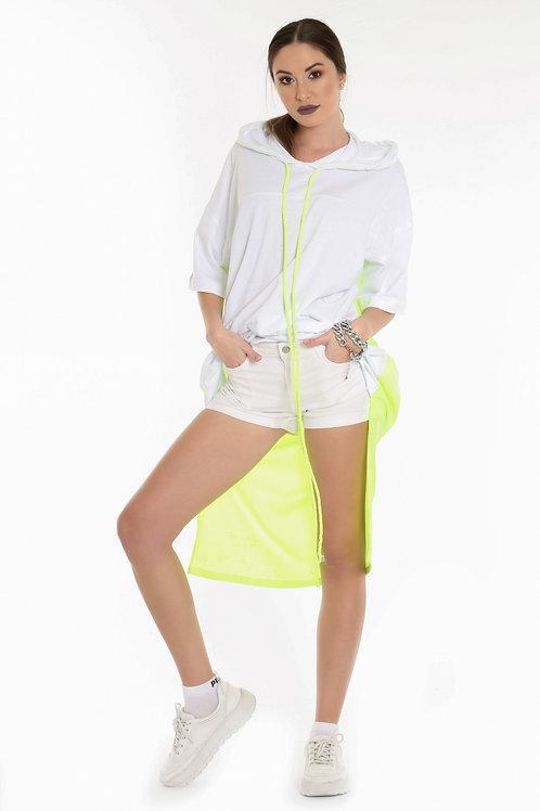 Beyaz Neon Uzun Kapşonlu Tişört
