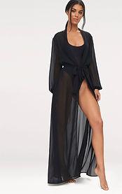 Siyah Uzun Kimono