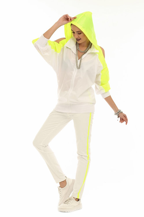 Beyaz Neon Şeritli Kot Pantolon