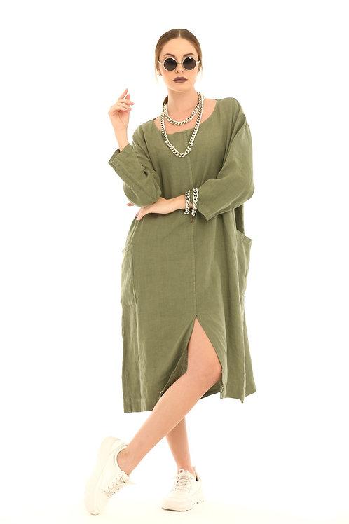 Yeşil Keten Elbise