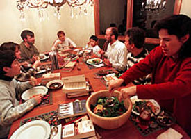 club members eating dinner