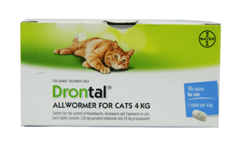 Drontal all wormer for cats less than 4kg single tablets
