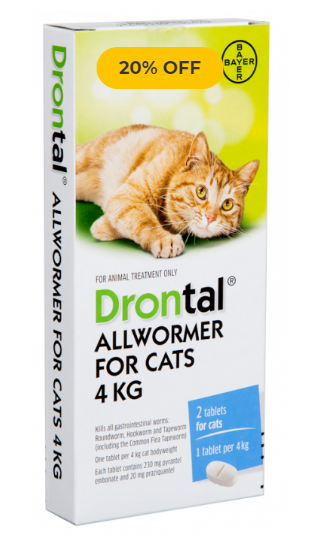Drontal allwormer for cats 4kg 2 tablets
