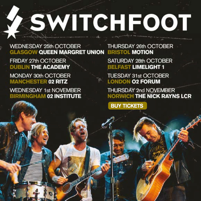 SWITCHFOOT - San Diego rockers open UK tour in Glasgow, plus 1st time headliners in Norwich & Br