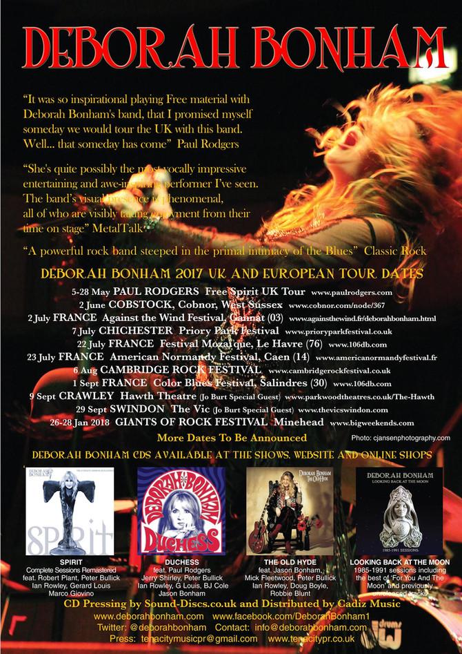 DEBORAH BONHAM & Band: updated UK & France 2017 dates, Giants of Rock 2018