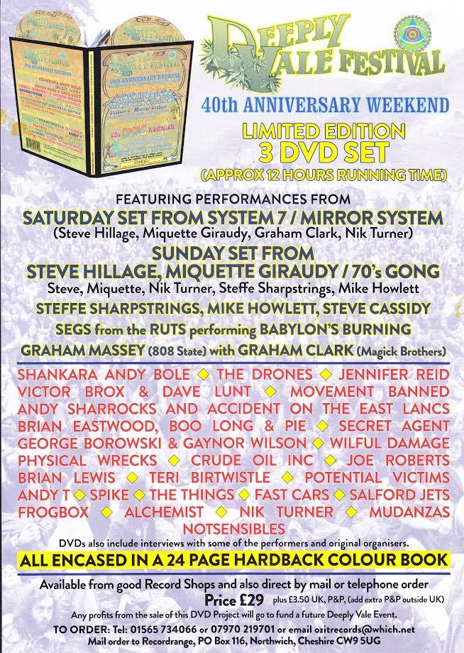 DEEPLY VALE FESTIVAL; 40TH ANNIVERSARY WEEKEND DVD BOOK-SET; Steve Hillage, Segs (Ruts), Graham Mass