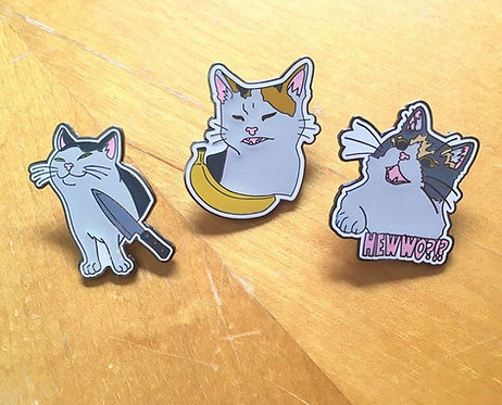 Cat meme enamel pins