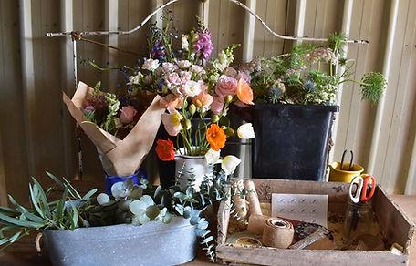 Elderflower Farm, work station for floristry design and producing of flowers on farm in the Scenic Rim, Queensland, Australia.