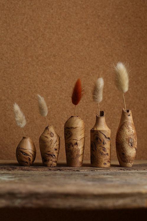 Oak Burr Mini Dried Flower Vase Set #3