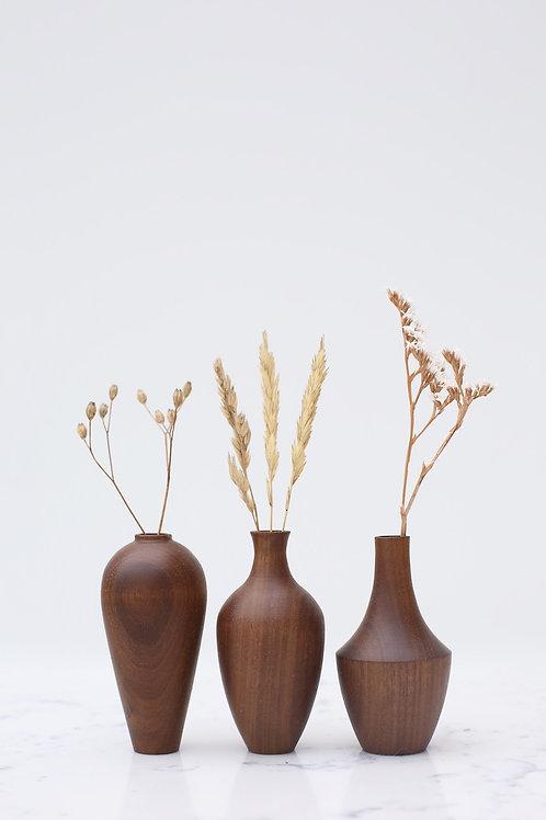 Walnut Mini Dried Flower Vase Set #2