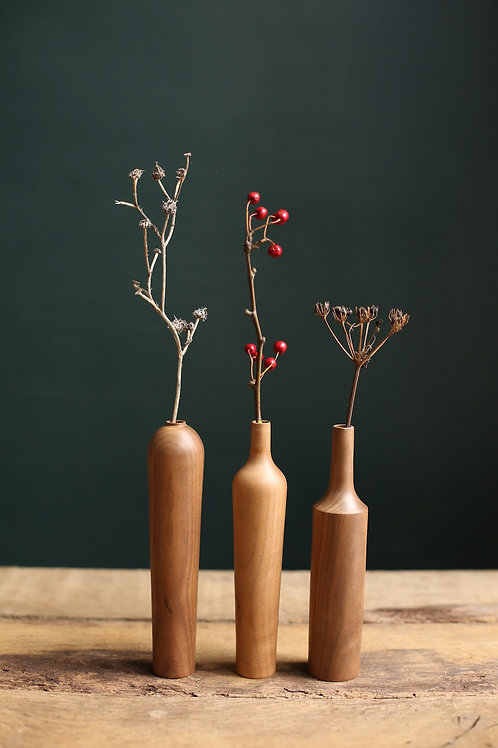 Set of 3 Walnut Small Dried Flower Vases