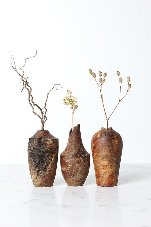 Spalted Elm Burr Mini Dried Flower Vase Set #1