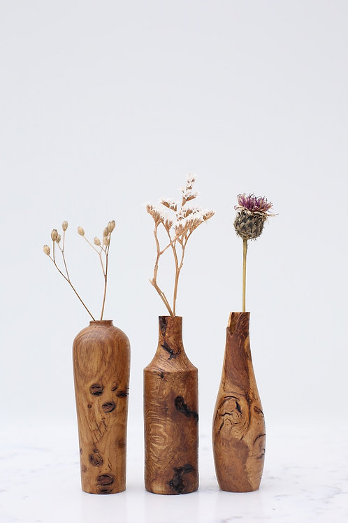 Oak Burr Mini Dried Flower Vase Set #4