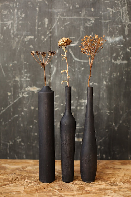 Set of 3 Ebonised Ash Medium Dried Flower Vases