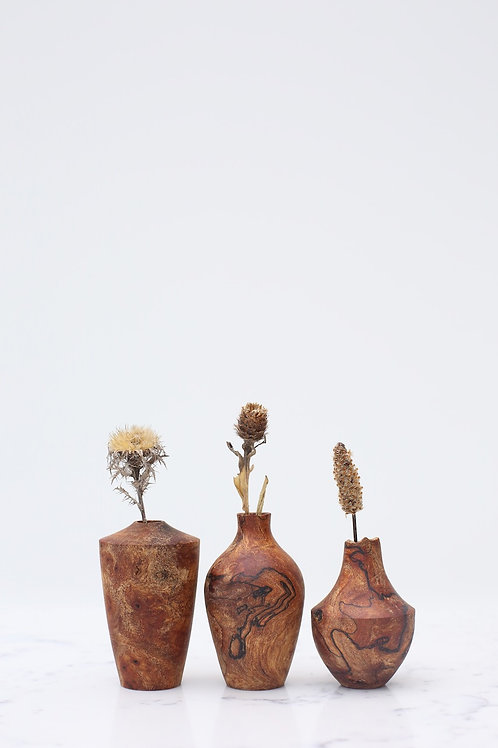 Spalted Elm Burr Mini Dried Flower Vase Set #2