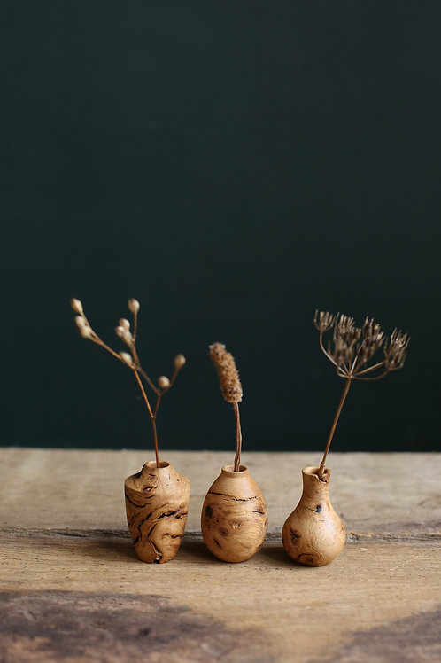 Oak Burr Mini Dried Flower Vase Set #2