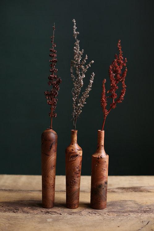 Set of 3 Elm Burr Small Dried Flower Vases