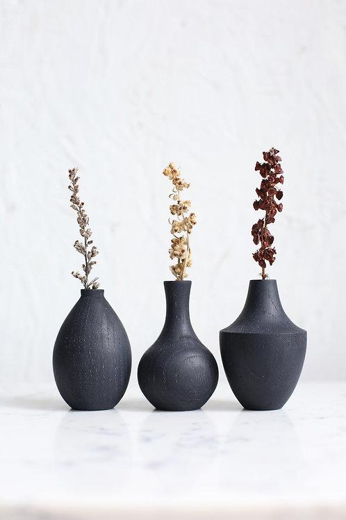 Ebonised Chestnut Mini Dried Flower Vase Set #3