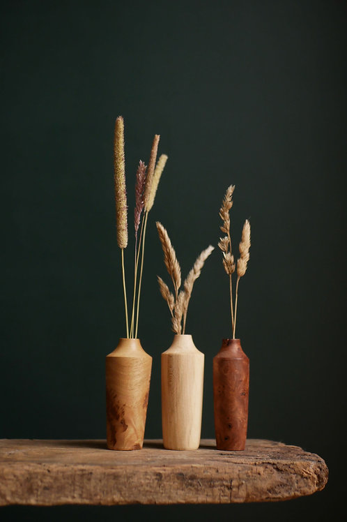 Oak, Elm and Sweet Chestnut Mini bud Vase Set