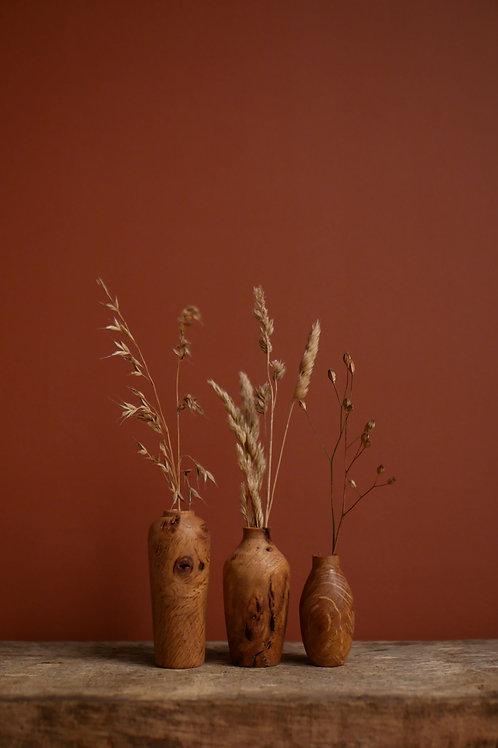 Oak Burl Mini Bud Vase Set 2