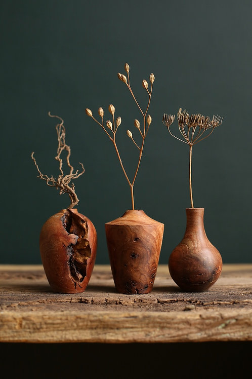 Elm Burr Mini Dried Flower Vase Set #2