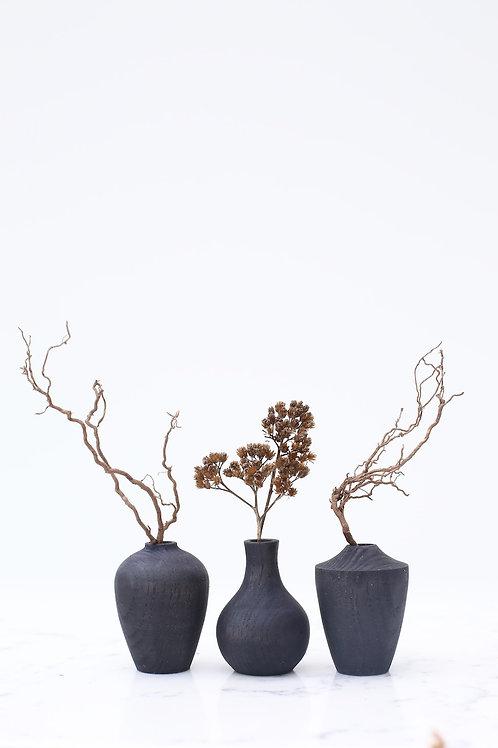 Ebonised Ash Mini Dried Flower Vase Set #1