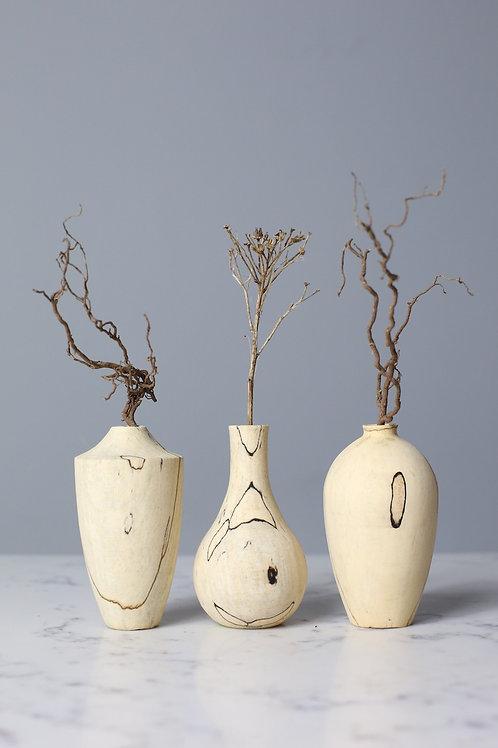 Spalted Beech Mini Dried Flower Vase Set #1