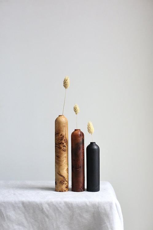 Oak Burr, Elm Burr & Ebonised Ash Dried Flower Vase Set #1