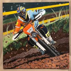 Fabio Milani moto portrait canvas painti
