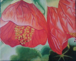 "Drooping Flowers 9"" x 12"" Acrylic"