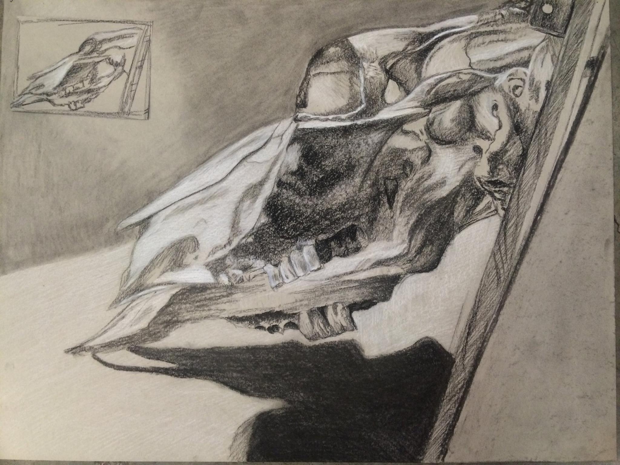 "Skull 18"" x 24"" Charcoal"