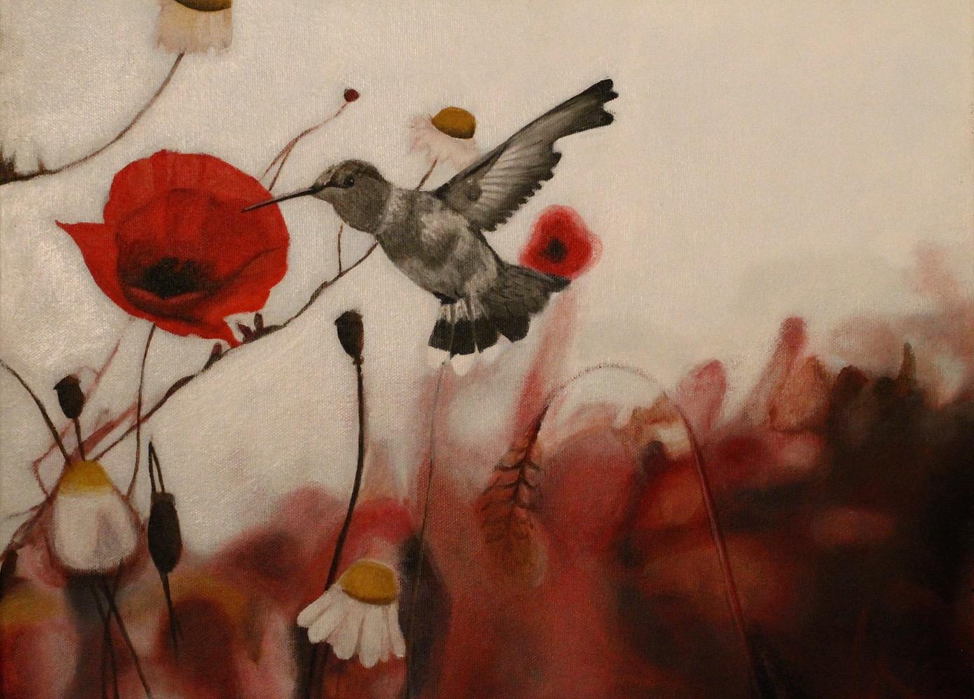 """Humming Bird 16""""x 24"""" Acrylic"""