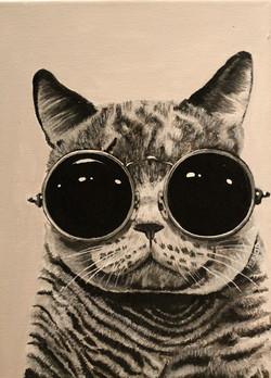 """Goggled Eyed Cat 7"""" x 12"""" Acrylic"""