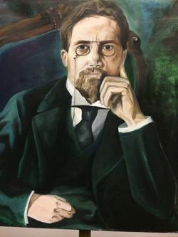 """Anton Chekhov 24"""" x 30"""" Acrylic"""