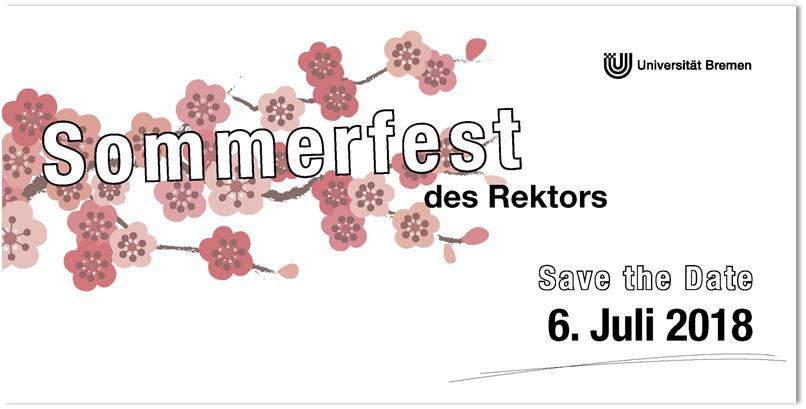 Einladung zum Sommerfest des Rektors am 06.07.2018