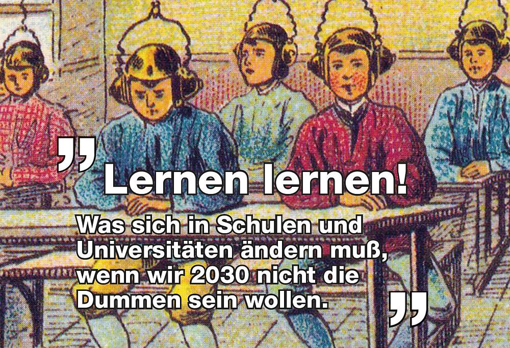 Kinder in der Schule mit futuristischen Helmen.