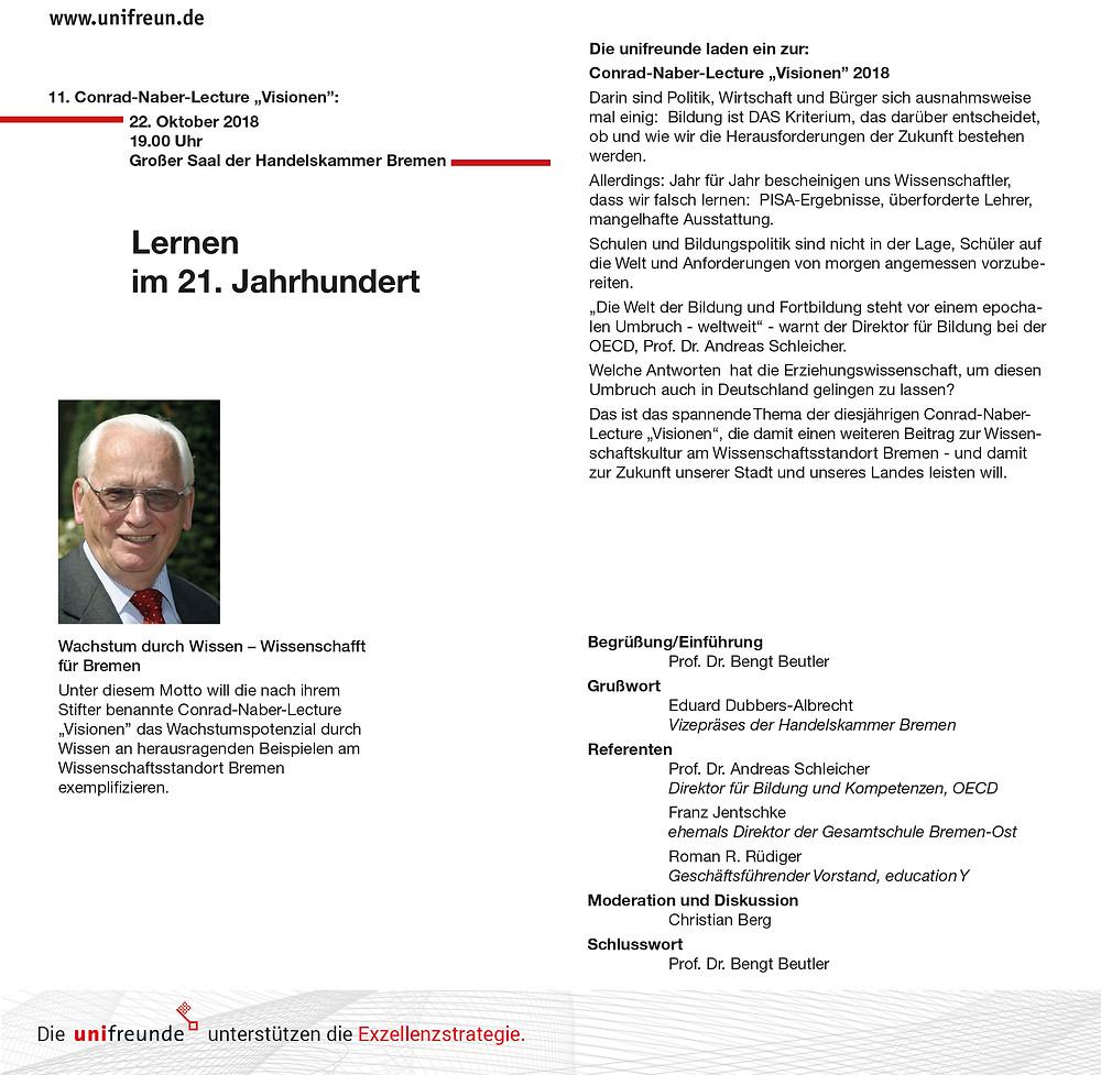 """Einladung zur 11. Conrad-Naber-Lecture """"Visionen"""""""