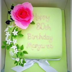peony jasmine 80th cake