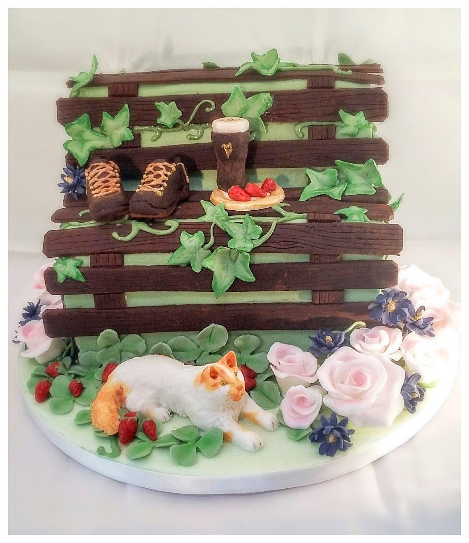 garden bench cake