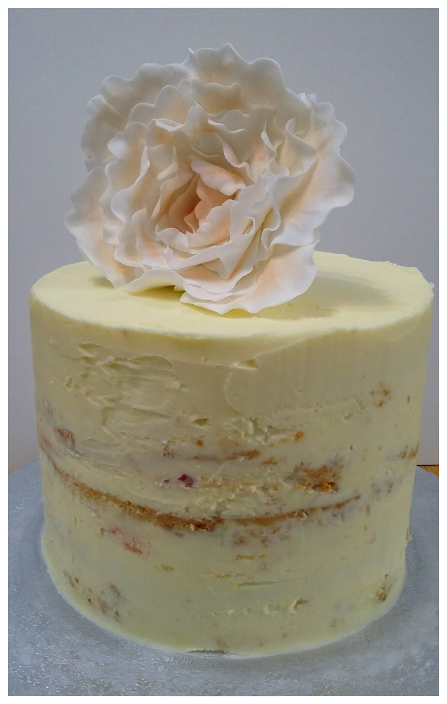 Semi naked buttercream peony cake