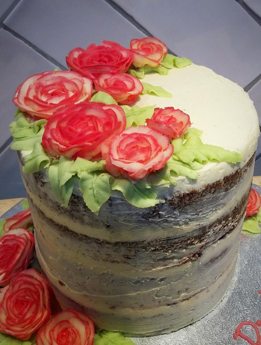 Seminaked cake with buttercream rose