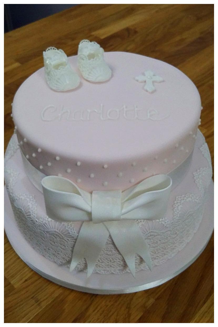 Booties pink Christening cake