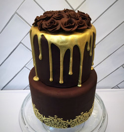 Chocolate and Gold Drip Rose